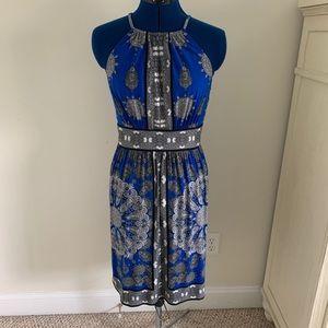 London Times halter dress sz 6 blue, black & white